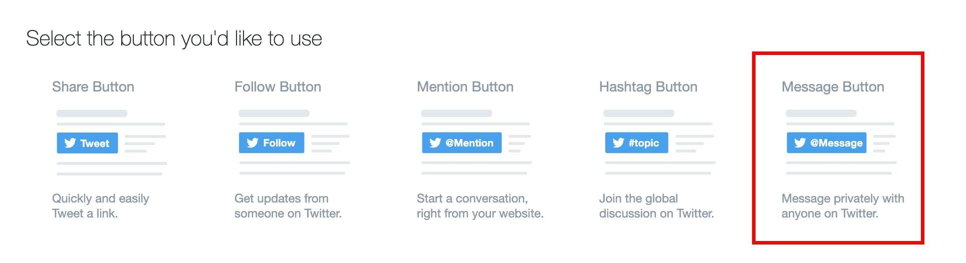 message button twitter developer page