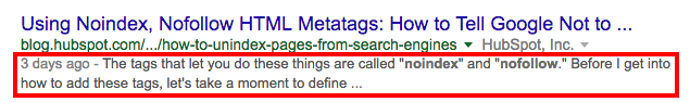 example of a meta description on Google