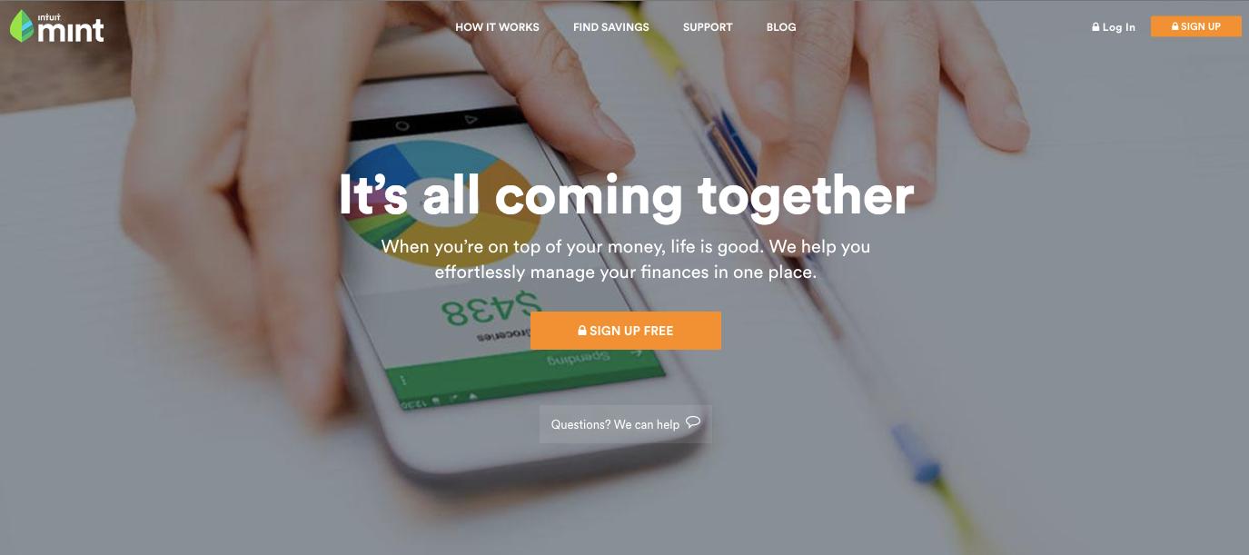 Mint homepage web design