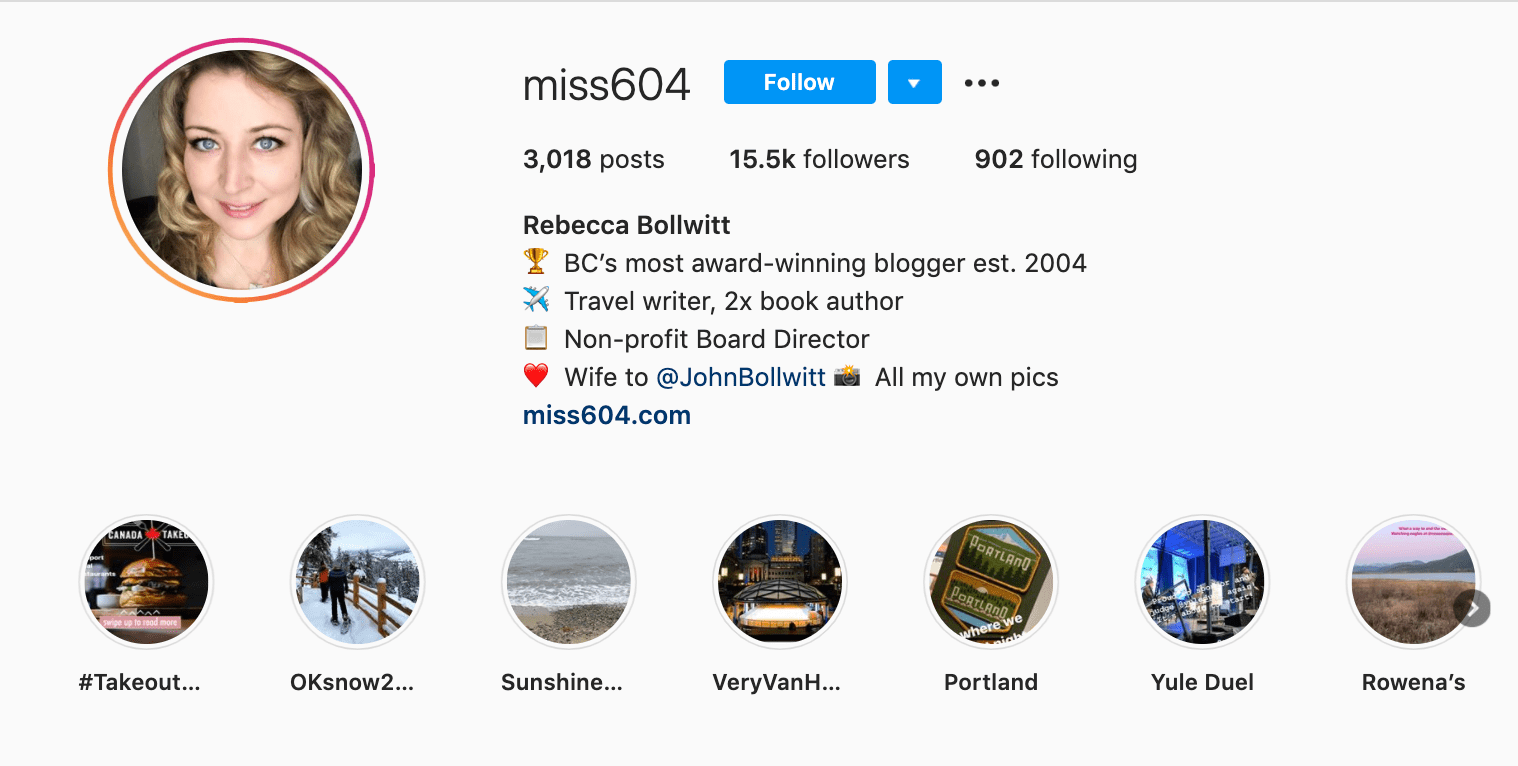 miss604 professional bio on Instagram