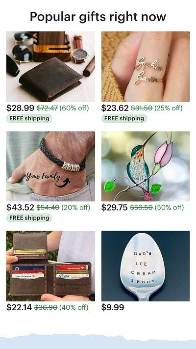 mobile website design: etsy popular items homepage