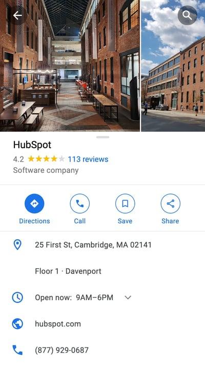 mobile website design: google map place description page