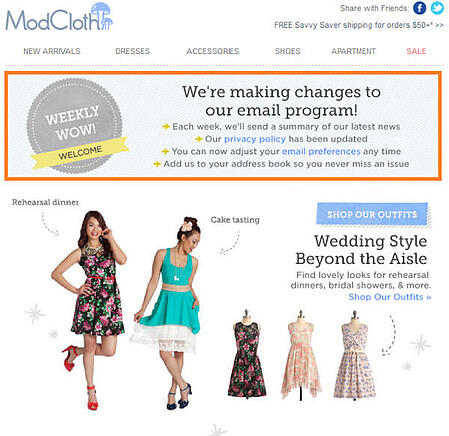 """Email Marketing Campaign Example: Modcloth - """"We're making changes to our email program!"""""""