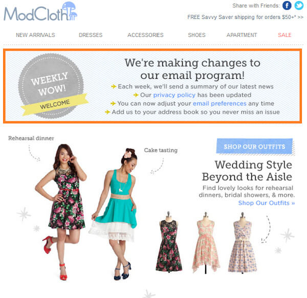 "modcloth email that reads ""we're making changes to our email program"" with the option to change email preferences and promotional material underneath"