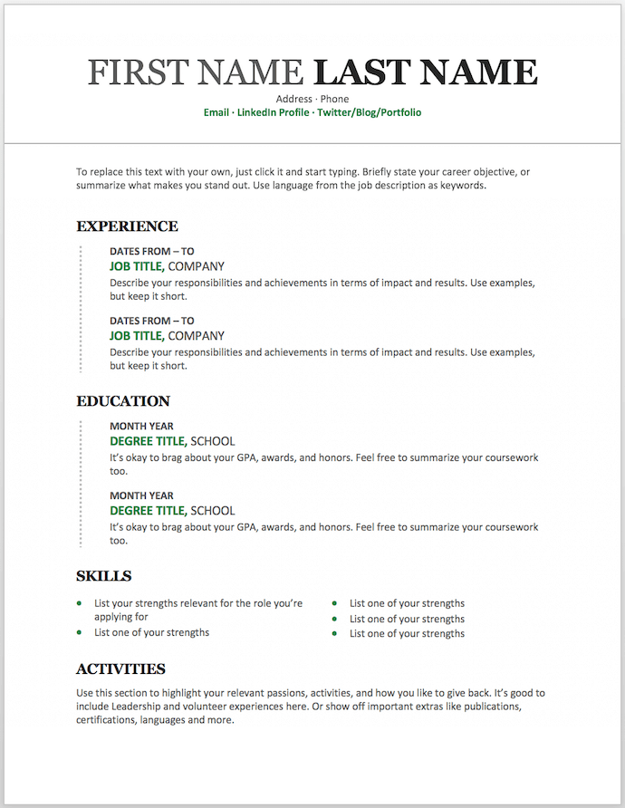 Modern chronological resume template for MS Word