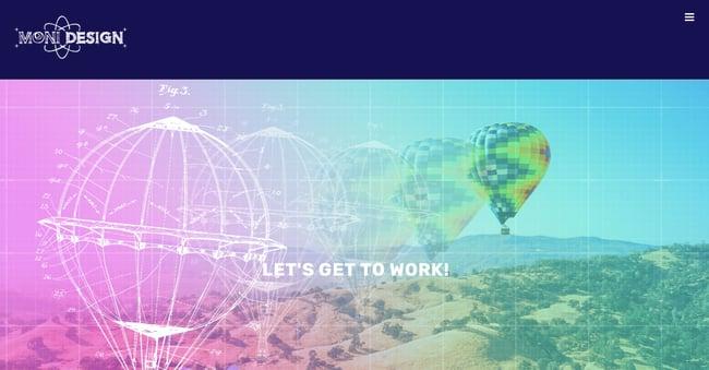 Moni Design homepage - Avada WordPress theme example