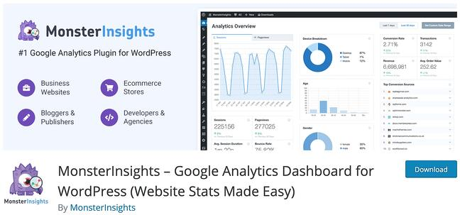 product page for the wordpress analytics plugin monster insights