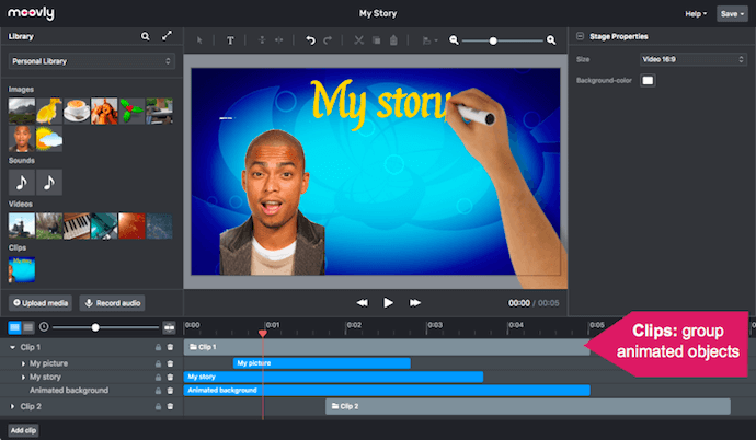 Moovly video animation software