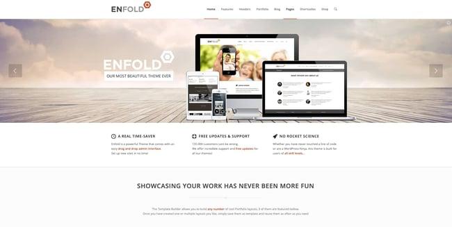 most popular wordpress theme demo example: enfold