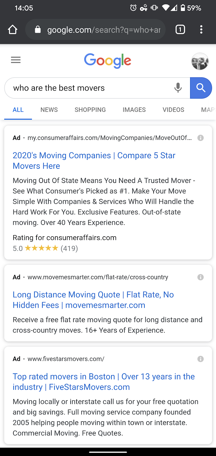 Paid search advertising example