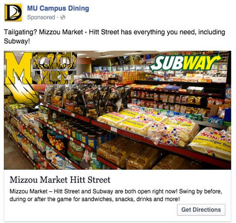 mu campus dining facebook ad for local
