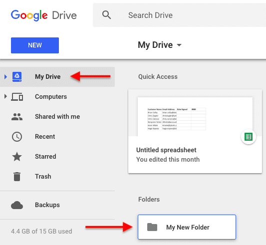 A newly created folder in the My Drive section of Google Drive