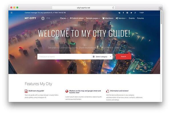 mycity classified theme demo homepage with category search module