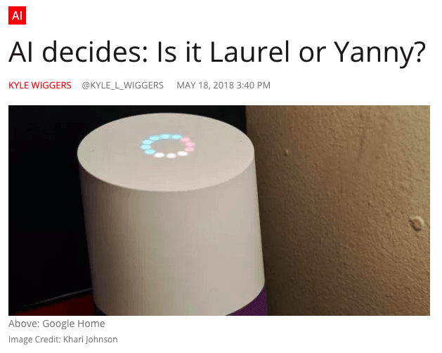 Native advertising example by VentureBeat on Laurel vs. Yanny meme