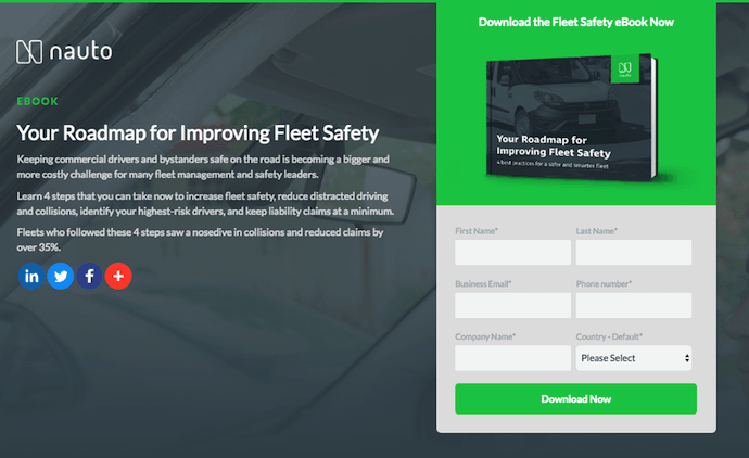 Nauto ebook landing page with green Download button