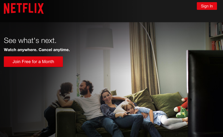 Netflix call to action button