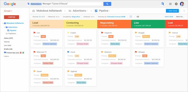 NetHunt real estate CRM inside Gmail (pipeline view)