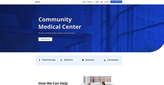 Neve drag-and-drop theme demo website for a medical center