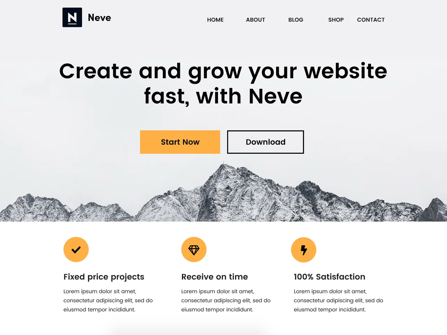 One-page WordPress theme demo for Neve