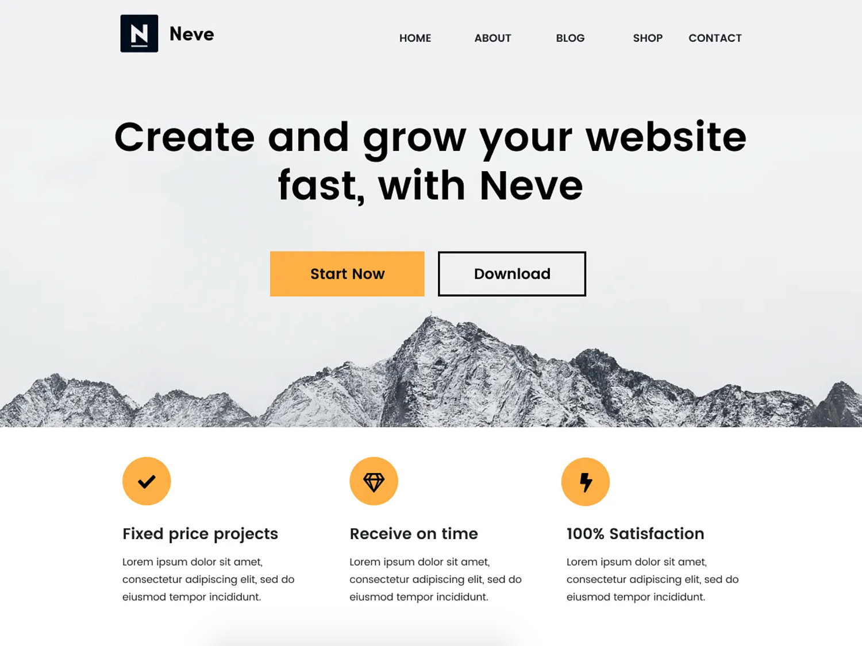 Neve one page WordPress theme