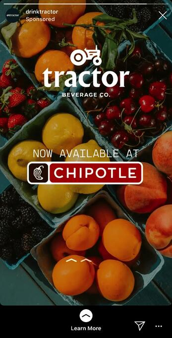 Drink Tractor and Chipotle Instagram Story ad example