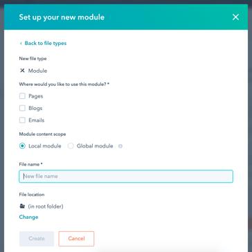 the new module setup window in CMS Hub