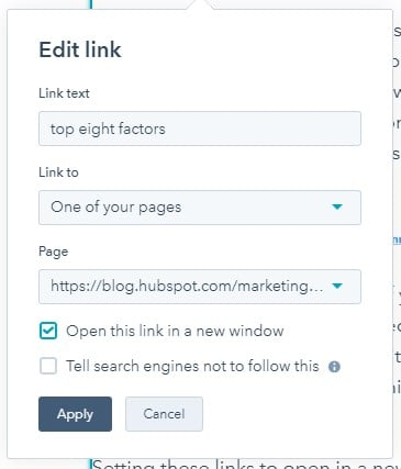 "edit link functionality in hubspot with checkbox for ""open this link in a new window"""