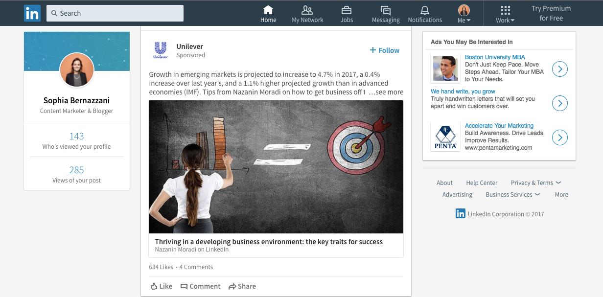 New linkedin homepage