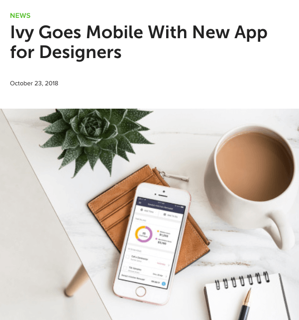 Newsjack blog post by Houzz on news of a mobile app launch