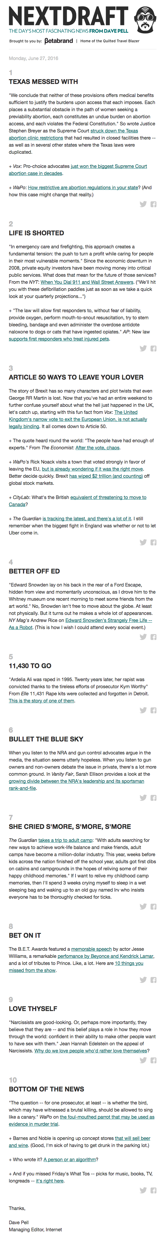 Email newsletter example design for news copy by NextDraft