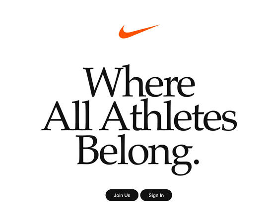 nike homepage 'where all athletes belong' marketing message