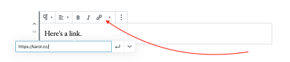 Red arrow pointing to link symbol