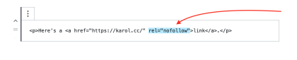 Nofollow attribute within the HTML tag