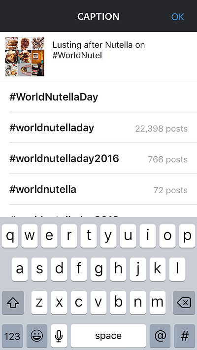 Nutella user showing how to use Instagram hashtag suggestions in a caption