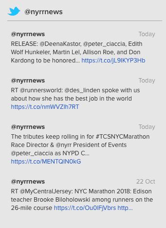 Twitter's Tweet Timeline API returned to frontend of NYRR website