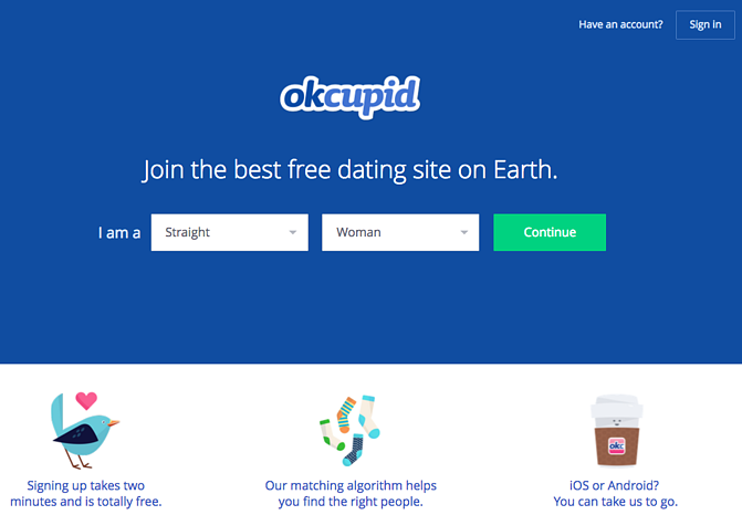 Example call to action button by OKCupid