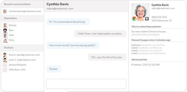 Olark live chat app from the agent's view