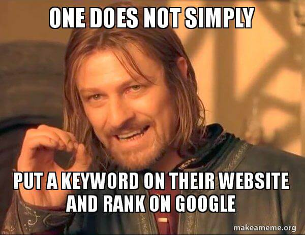 One Does Not Simply meme with caption about SEO and keywords