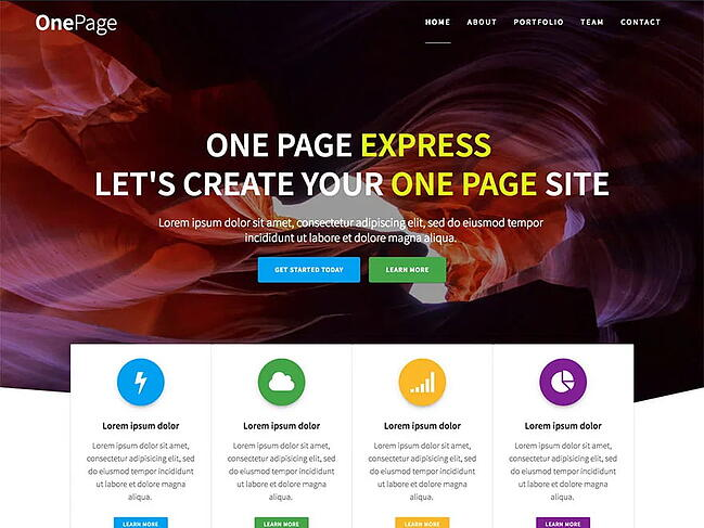 One-page WordPress theme demo for One Page Express