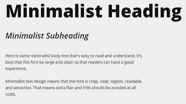 minimalist text design with heading, subheading, and body font in open sans