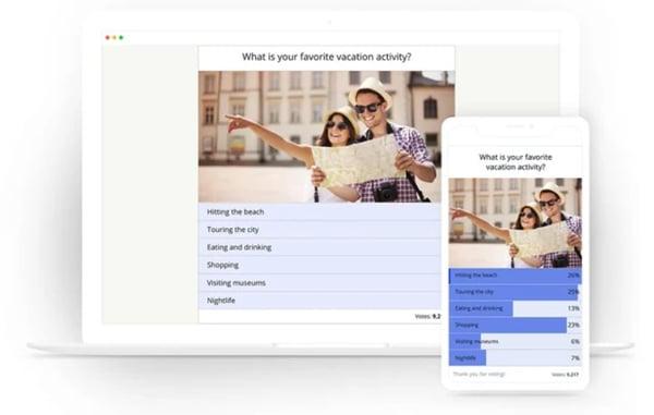 screenshot of opinionstage poll plugin embedded on wordpress site