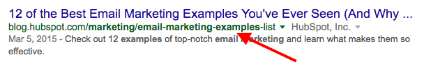 Search engine result link with a keyword-optimized URL