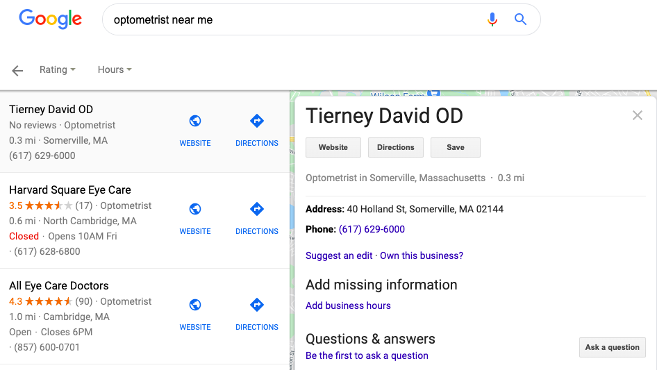 Google My Business profile showing up as a search result