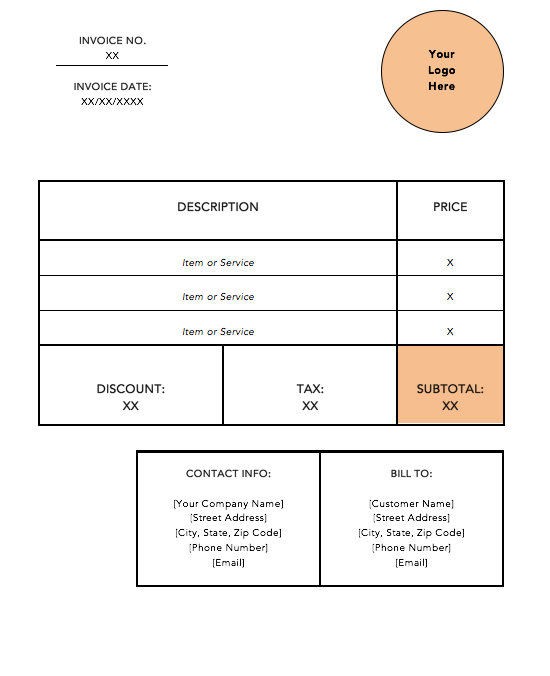orange standard invoice template