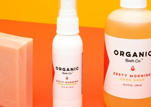 organic bath co.'s products: soap and sanitizer