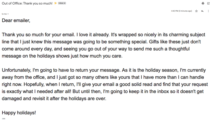 An out of office email written like a holiday thank-you card