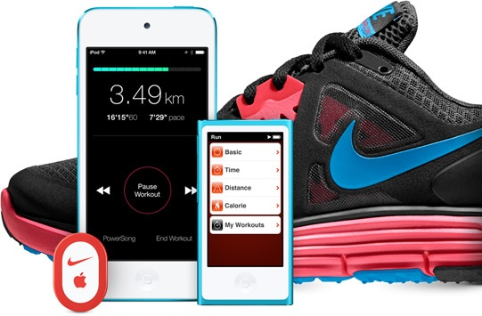 Nike+ shoe, iPhone, and iPod