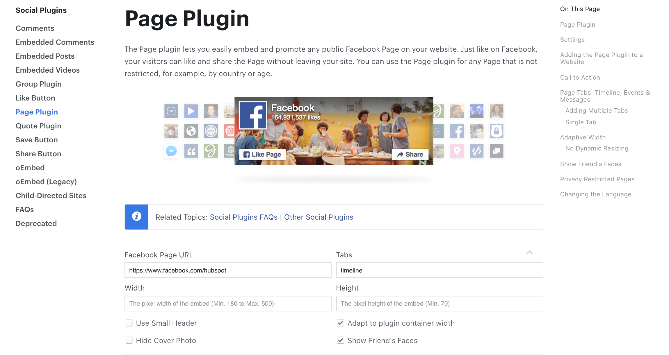 facebook developer page plugin
