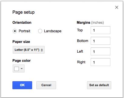 Page setup on a Google Doc