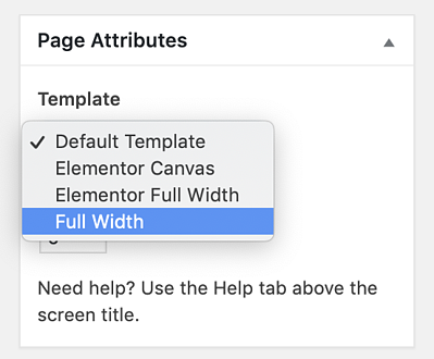 page attributes for how to remove sidebar in WordPress